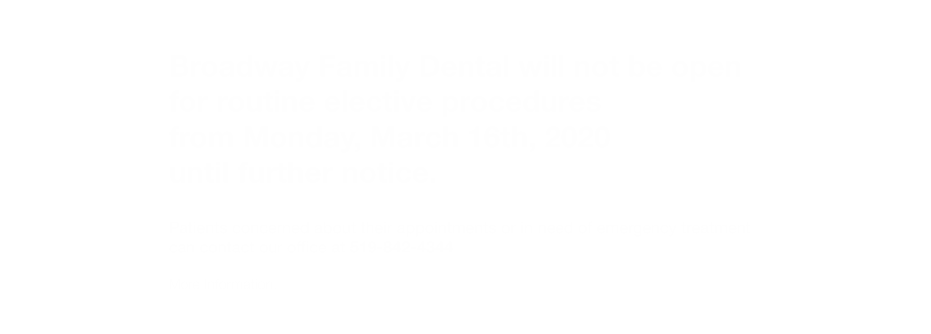 Broadway Family Dental - Office Closed